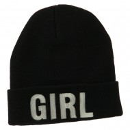 Girl Embroidered Cuff Long Beanie - Black