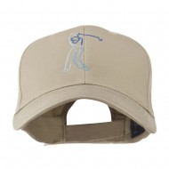 Male Golfer Outline Embroidered Cap - Khaki
