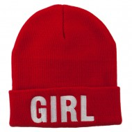 Girl Embroidered Cuff Long Beanie - Red