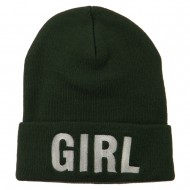 Girl Embroidered Cuff Long Beanie - Olive