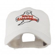 Goofy Ghost Happy Halloween Embroidered Cap - White