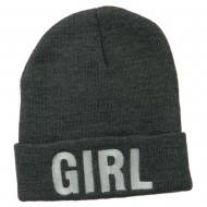 Girl Embroidered Cuff Long Beanie - Grey
