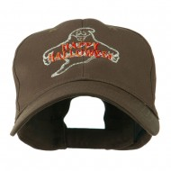 Goofy Ghost Happy Halloween Embroidered Cap - Brown