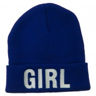 Girl Embroidered Cuff Long Beanie - Royal