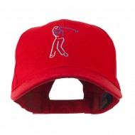 Male Golfer Outline Embroidered Cap - Red