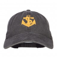 Anchor Logo Embroidered Washed Cap - Black