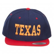 Texas Embroidered Two Tone Snapback Cap - Navy Red