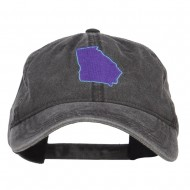 Georgia State Map Embroidered Washed Cap - Black