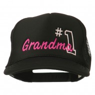 Number 1 Grandma Embroidered Youth Mesh Cap - Black