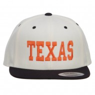 Texas Embroidered Two Tone Snapback Cap - Natural Black