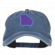 Georgia State Map Embroidered Washed Cap - Navy