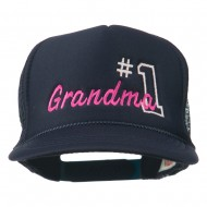Number 1 Grandma Embroidered Youth Mesh Cap - Navy