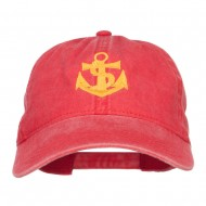 Anchor Logo Embroidered Washed Cap - Red