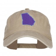 Georgia State Map Embroidered Washed Cap - Khaki
