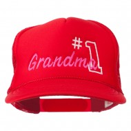 Number 1 Grandma Embroidered Youth Mesh Cap - Red