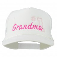 Number 1 Grandma Embroidered Youth Mesh Cap - White