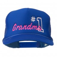 Number 1 Grandma Embroidered Youth Mesh Cap - Royal