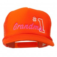 Number 1 Grandma Embroidered Youth Mesh Cap - Orange