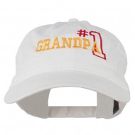 Number 1 Grandpa Outline Embroidered Washed Cotton Cap - White