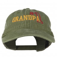 Number 1 Grandpa Outline Embroidered Washed Cotton Cap - Olive Green
