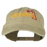 Number 1 Grandpa Outline Embroidered Washed Cotton Cap - Khaki