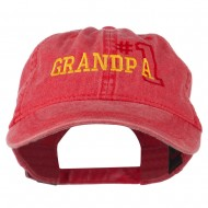 Number 1 Grandpa Outline Embroidered Washed Cotton Cap - Red