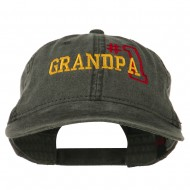 Number 1 Grandpa Outline Embroidered Washed Cotton Cap - Black