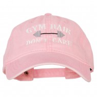 Gym Hair Don't Care Embroidered Washed Cotton Twill Cap - Pink