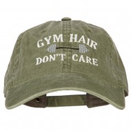 Gym Hair Don't Care Embroidered Washed Cotton Twill Cap - Olive