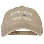 Gym Hair Don't Care Embroidered Washed Cotton Twill Cap - Khaki