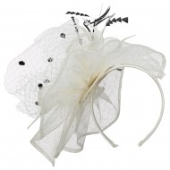 Ruffled Feather Fascinator With Netting - Cream