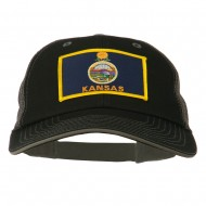 Big Mesh State Kansas Patch Cap - Black Grey