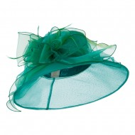 Glitter Big Bow Organza Hat - Green