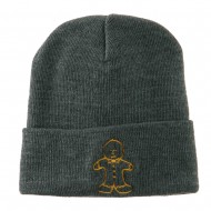Gingerbread Man Embroidered Long Beanie - Grey