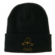 Gingerbread Man Embroidered Long Beanie - Black