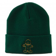 Gingerbread Man Embroidered Long Beanie - Green