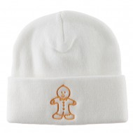 Gingerbread Man Embroidered Long Beanie - White