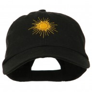 Gold Sun Embroidered Low Profile Washed Cap - Black