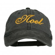 Gold Noel Embroidered Washed Cotton Cap - Black