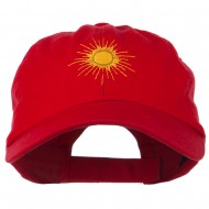 Gold Sun Embroidered Low Profile Washed Cap - Red
