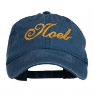 Gold Noel Embroidered Washed Cotton Cap - Navy