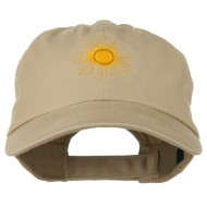 Gold Sun Embroidered Low Profile Washed Cap - Khaki