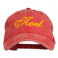 Gold Noel Embroidered Washed Cotton Cap - Red