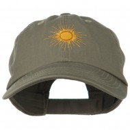 Gold Sun Embroidered Low Profile Washed Cap - Olive