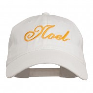 Gold Noel Embroidered Washed Cotton Cap - White