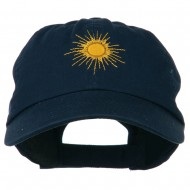Gold Sun Embroidered Low Profile Washed Cap - Navy