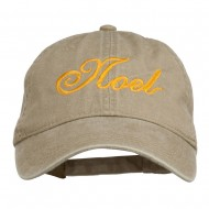 Gold Noel Embroidered Washed Cotton Cap - Khaki