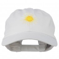 Gold Sun Embroidered Low Profile Washed Cap - White