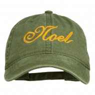 Gold Noel Embroidered Washed Cotton Cap - Olive Green
