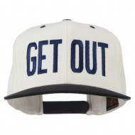 Get Out Embroidered Snapback Cap - Natural Black